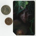 "Underbrush  |  Acrylic and Oil on New York City Metrocard  3.5"" x 2""  size comparison"